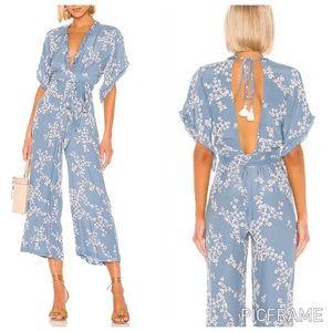Floral Jumpsuit in Cornflower Blue